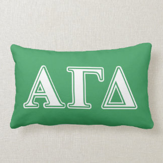 Alpha Gamma Delta White and Green Letters Lumbar Cushion