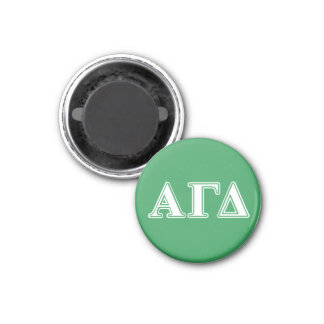 Alpha Gamma Delta White and Green Letters Magnet