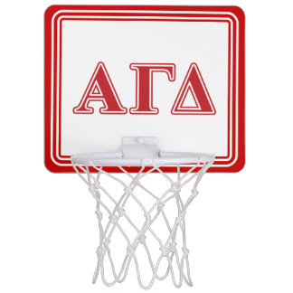 Alpha Gamma Delta White and Green Letters Mini Basketball Hoop