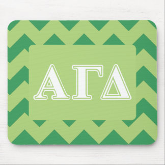 Alpha Gamma Delta White and Green Letters Mouse Mat