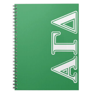 Alpha Gamma Delta White and Green Letters Notebook
