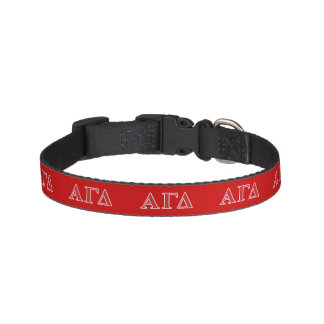 Alpha Gamma Delta White and Green Letters Pet Collar