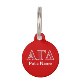 Alpha Gamma Delta White and Green Letters Pet Name Tag