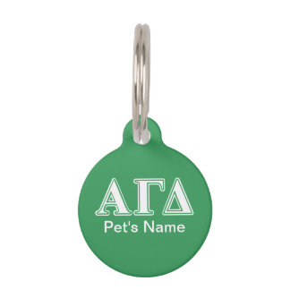 Alpha Gamma Delta White and Green Letters Pet Tag