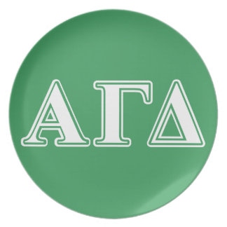 Alpha Gamma Delta White and Green Letters Plate