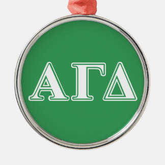 Alpha Gamma Delta White and Green Letters Silver-Colored Round Decoration