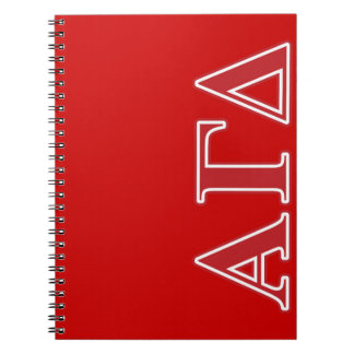 Alpha Gamma Delta White and Green Letters Spiral Notebook