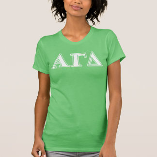 Alpha Gamma Delta White and Green Letters T-Shirt