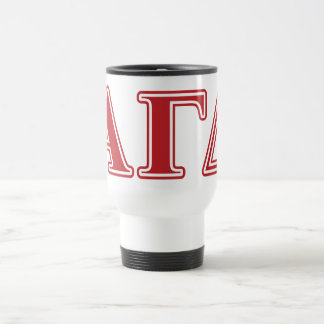 Alpha Gamma Delta White and Green Letters Travel Mug