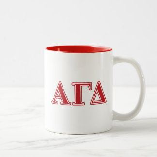 Alpha Gamma Delta White and Green Letters Two-Tone Coffee Mug