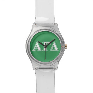 Alpha Gamma Delta White and Green Letters Watch
