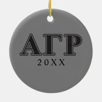 Alpha Gamma Rho Black Letters Christmas Ornament