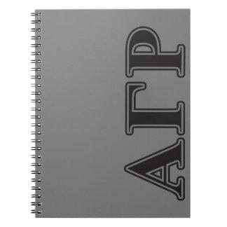 Alpha Gamma Rho Black Letters Notebooks