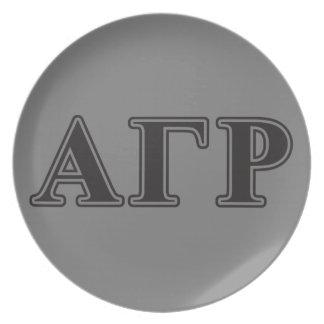 Alpha Gamma Rho Black Letters Plate