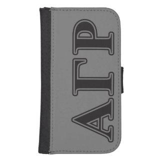 Alpha Gamma Rho Black Letters Samsung S4 Wallet Case