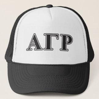 Alpha Gamma Rho Black Letters Trucker Hat