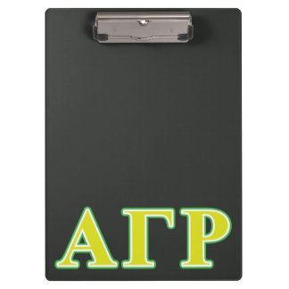 Alpha Gamma Rho Green and Yellow Letters Clipboard