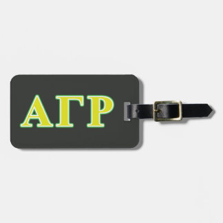 Alpha Gamma Rho Green and Yellow Letters Luggage Tag