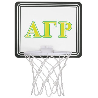 Alpha Gamma Rho Green and Yellow Letters Mini Basketball Hoop