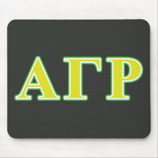 Alpha Gamma Rho Green and Yellow Letters Mouse Mat