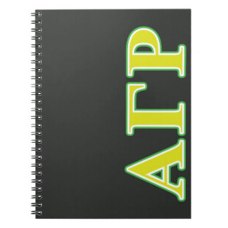 Alpha Gamma Rho Green and Yellow Letters Notebooks