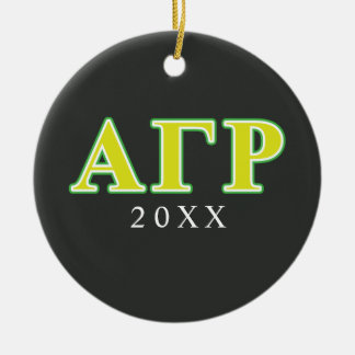 Alpha Gamma Rho Green and Yellow Letters Round Ceramic Decoration