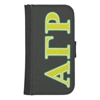Alpha Gamma Rho Green and Yellow Letters Samsung S4 Wallet Case