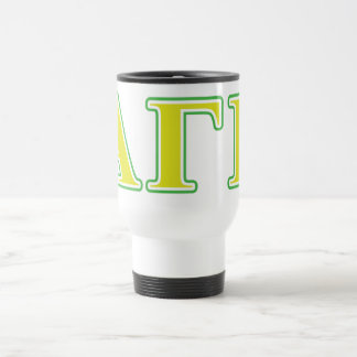 Alpha Gamma Rho Green and Yellow Letters Travel Mug