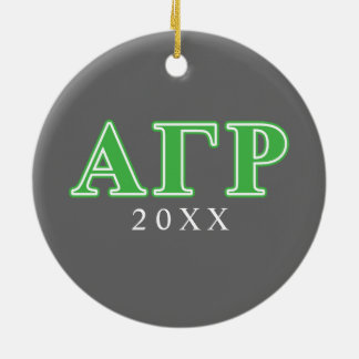 Alpha Gamma Rho Green Letters Christmas Ornament
