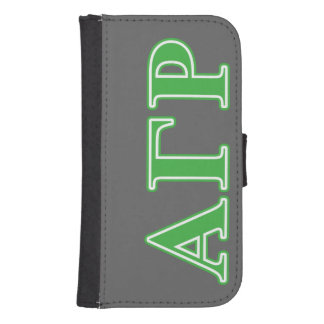Alpha Gamma Rho Green Letters Samsung S4 Wallet Case