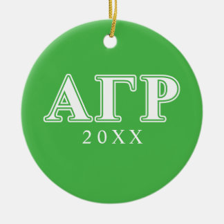 Alpha Gamma Rho White and Green Letters Christmas Ornament