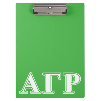 Alpha Gamma Rho White and Green Letters Clipboard