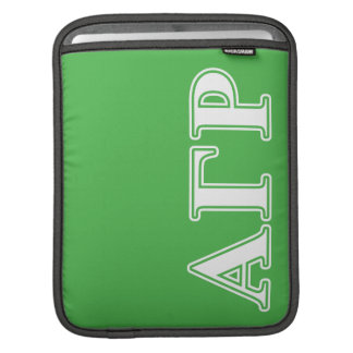 Alpha Gamma Rho White and Green Letters iPad Sleeve