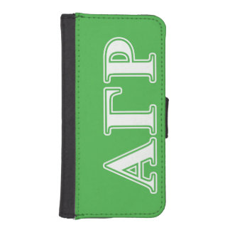 Alpha Gamma Rho White and Green Letters iPhone SE/5/5s Wallet Case