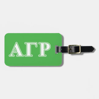 Alpha Gamma Rho White and Green Letters Luggage Tag