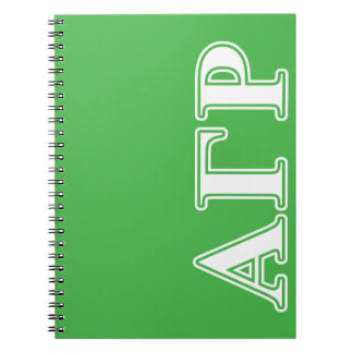 Alpha Gamma Rho White and Green Letters Notebooks