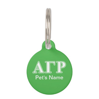 Alpha Gamma Rho White and Green Letters Pet Name Tag