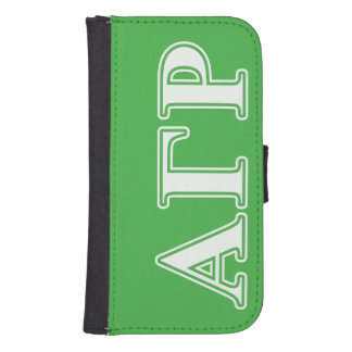 Alpha Gamma Rho White and Green Letters Samsung S4 Wallet Case