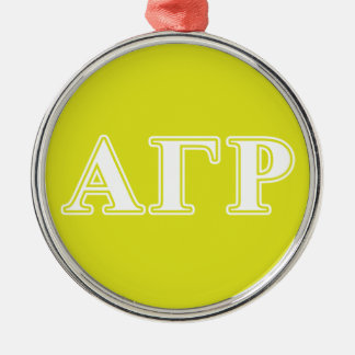 Alpha Gamma Rho White and Yellow Letters Christmas Ornament