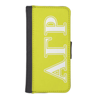 Alpha Gamma Rho White and Yellow Letters iPhone SE/5/5s Wallet Case