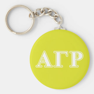 Alpha Gamma Rho White and Yellow Letters Key Ring