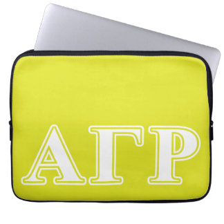 Alpha Gamma Rho White and Yellow Letters Laptop Sleeve
