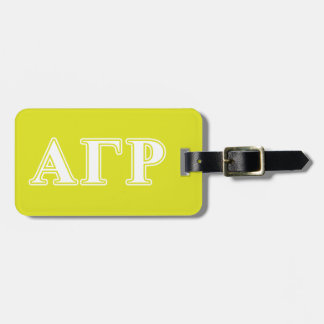 Alpha Gamma Rho White and Yellow Letters Luggage Tag