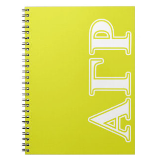Alpha Gamma Rho White and Yellow Letters Notebook