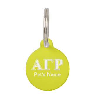 Alpha Gamma Rho White and Yellow Letters Pet ID Tag