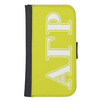 Alpha Gamma Rho White and Yellow Letters Samsung S4 Wallet Case