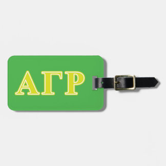 Alpha Gamma Rho Yellow Letters Luggage Tag