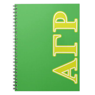 Alpha Gamma Rho Yellow Letters Notebook