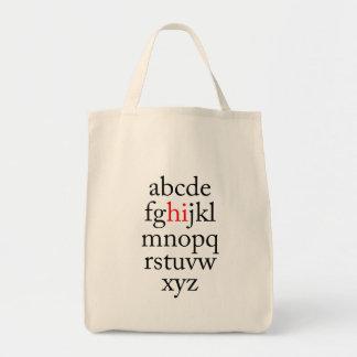 "Alpha ""hi"" grocery tote bag"