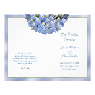 Alpha Hydrangea Folded Wedding Program Template Flyer